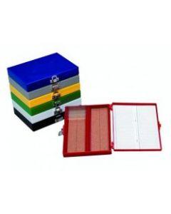 Blue microscope slide box for 100 slides