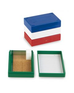 Microscope slide box, 25 slides, blue